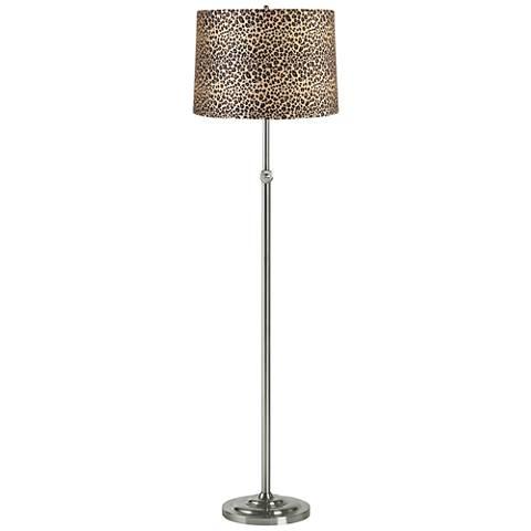 Leopard Print Brushed Steel Adjustable Floor Lamp