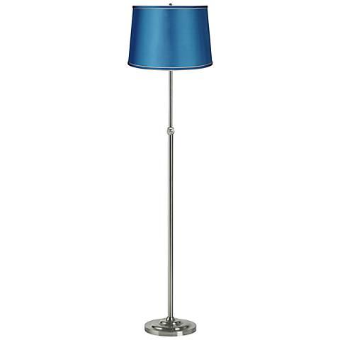 Satin Turquoise Brushed Steel Adjustable Floor Lamp