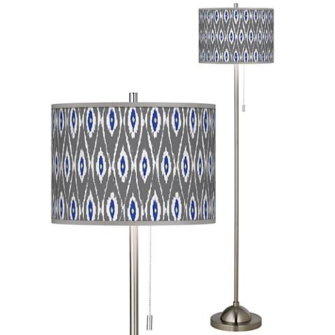 American Ikat Brushed Nickel Pull Chain Floor Lamp