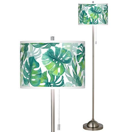 Tropica Brushed Nickel Pull Chain Floor Lamp