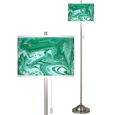 Malachite Brushed Nickel Pull Chain Floor Lamp