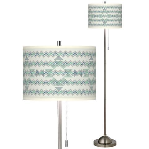 Triangular Stitch Brushed Nickel Pull Chain Floor Lamp