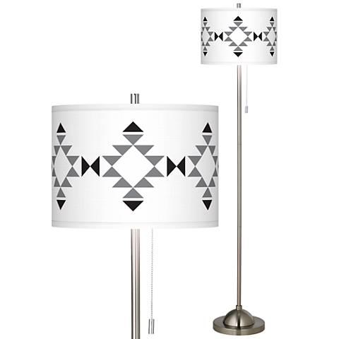 Desert Grayscale Brushed Nickel Pull Chain Floor Lamp
