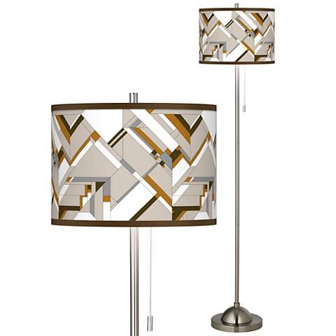 Craftsman Mosaic Brushed Nickel Pull Chain Floor Lamp