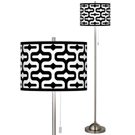 brushed steel rustic lodge floor lamps lamps plus. Black Bedroom Furniture Sets. Home Design Ideas
