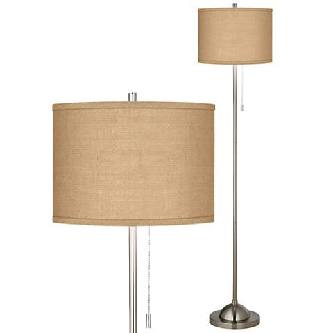 Woven Burlap Brushed Nickel Pull Chain Floor Lamp