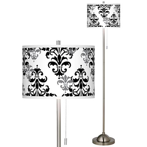 Damask Shadow Brushed Nickel Pull Chain Floor Lamp