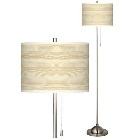 Birch Blonde Brushed Nickel Pull Chain Floor Lamp
