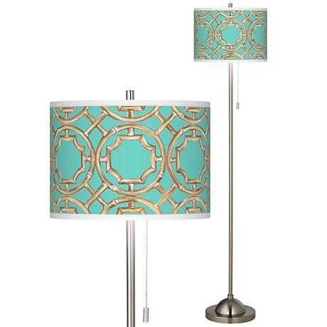brushed nickel pull chain floor lamp 99185 5m908 lamps plus. Black Bedroom Furniture Sets. Home Design Ideas