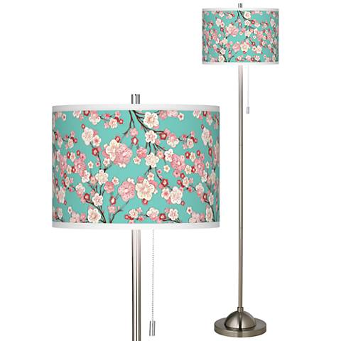 Cherry Blossoms Brushed Nickel Pull Chain Floor Lamp
