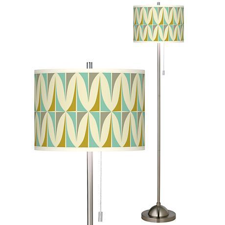 brushed nickel pull chain floor lamp 99185 7x987 lamps plus. Black Bedroom Furniture Sets. Home Design Ideas