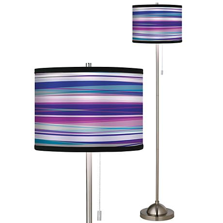 Giclee Purple Neon Brushed Nickel Pull Chain Floor Lamp