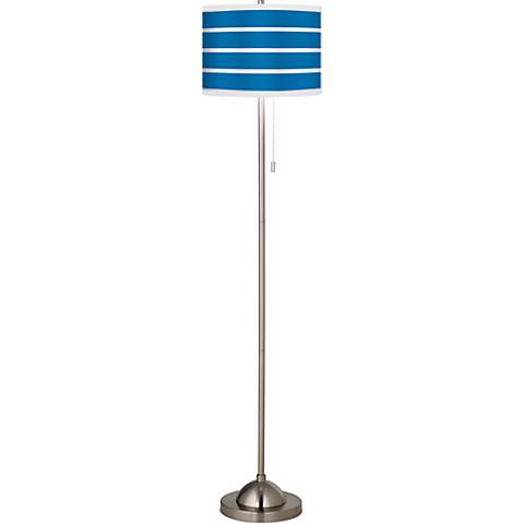 Giclee Bold Blue Stripe Brushed Nickel Pull Chain Floor Lamp