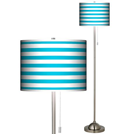 Giclee Aqua Horizontal Stripe Brush Nickel Pull Chain Floor Lamp