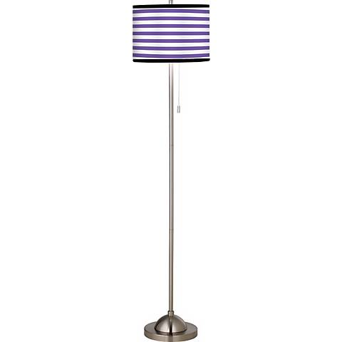 Giclee Purple Stripe Brushed Nickel Pull Chain Floor Lamp