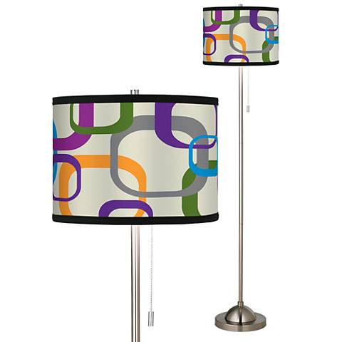 Retro Square Scramble Giclee Floor Lamp
