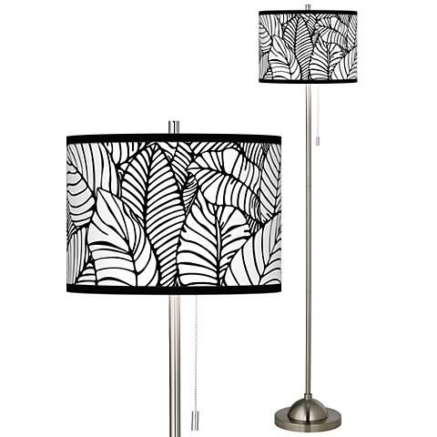Tropical Leaves Brushed Nickel Pull Chain Floor Lamp