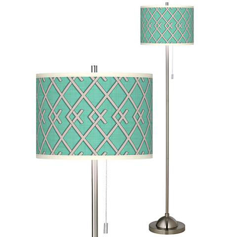 Crossings Brushed Nickel Pull Chain Floor Lamp