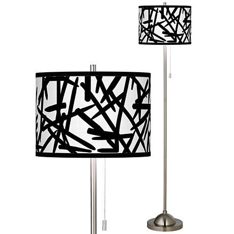 Sketchy Brushed Nickel Pull Chain Floor Lamp