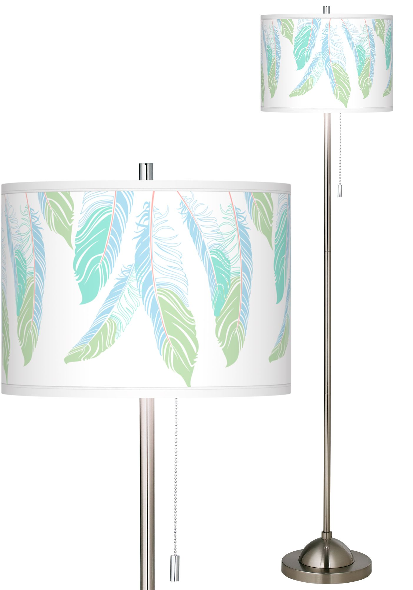 light as a feather brushed nickel pull chain floor lamp - Silver Floor Lamp
