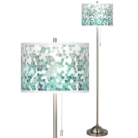 Aqua Mosaic Brushed Nickel Pull Chain Floor Lamp