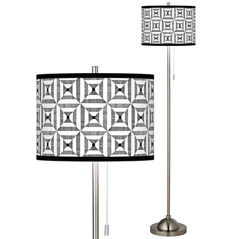 Tile Illusion Brushed Nickel Pull Chain Floor Lamp