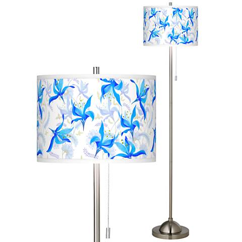 Flora Bleu Brushed Nickel Pull Chain Floor Lamp