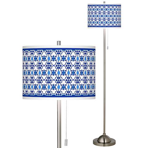 Indigo Path Brushed Nickel Pull Chain Floor Lamp