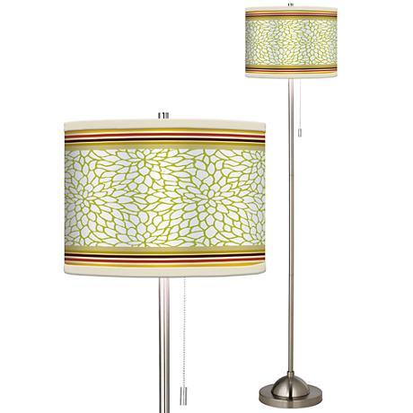 Stacy Garcia Lemongrass Dahlia Brushed Steel Giclee Floor Lamp