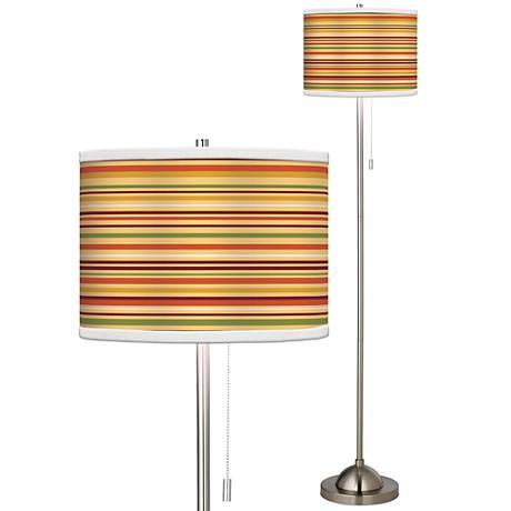 Stacy Garcia Harvest Stripe Giclee Brushed Steel Floor Lamp