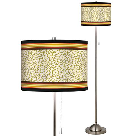Stacy Garcia Spice Dahlia Giclee Brushed Steel Floor Lamp
