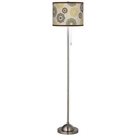 Ornamental Linen Shade Brushed Nickel Floor Lamp