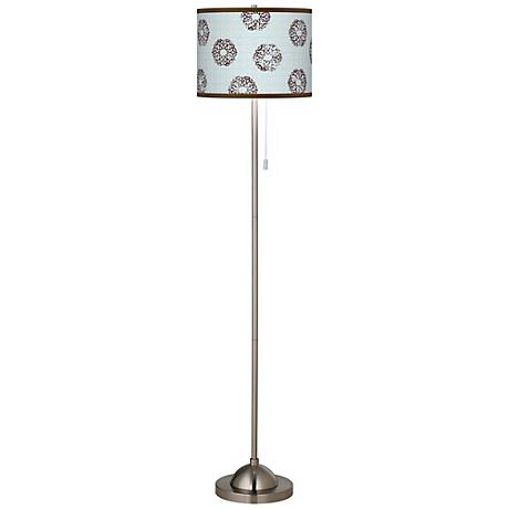Weathered Medallion Brushed Nickel Floor Lamp
