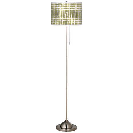 Ecru Screen Linen Giclee Contemporary Floor Lamp