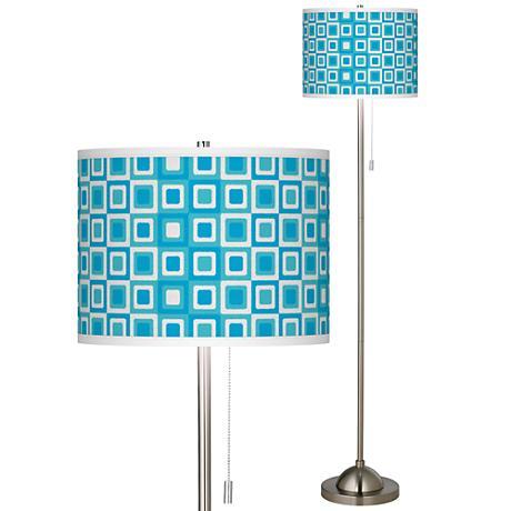Blue Boxes Linen Giclee  Contemporary Floor Lamp
