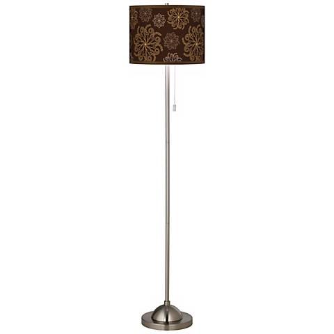 Chocolate Blossom Linen Giclee Contemporary Floor Lamp