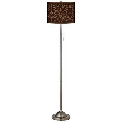 Mocha Flourish Linen Giclee Contemporary Floor Lamp