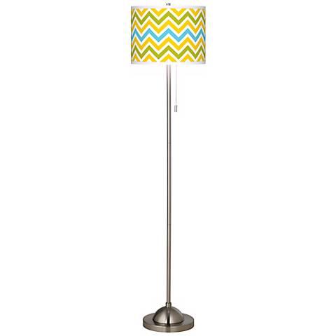 Citrus Zig Zag Giclee Brushed Nickel Floor Lamp