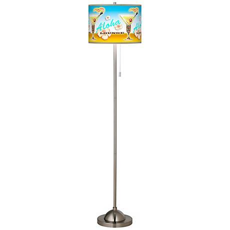 Aloha Lounge Giclee Brushed Nickel Floor Lamp