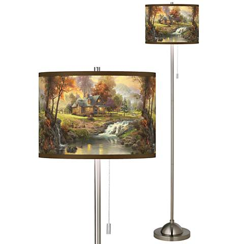 Thomas Kinkade Mountain Retreat Giclee Nickel Floor Lamp