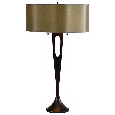 Lights Up! French Mod Bronze Driftwood Silk Table Lamp