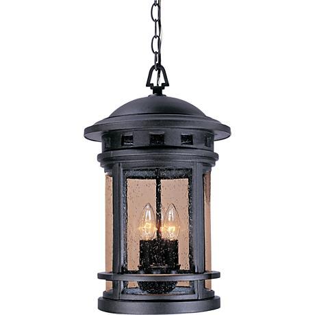 "Sedona 19""H Seedy Glass Bronze Outdoor Hanging Light"