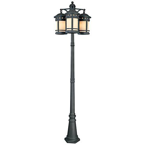 "Sedona 86"" High 3-Lantern Oiled Bronze Outdoor Post Light"