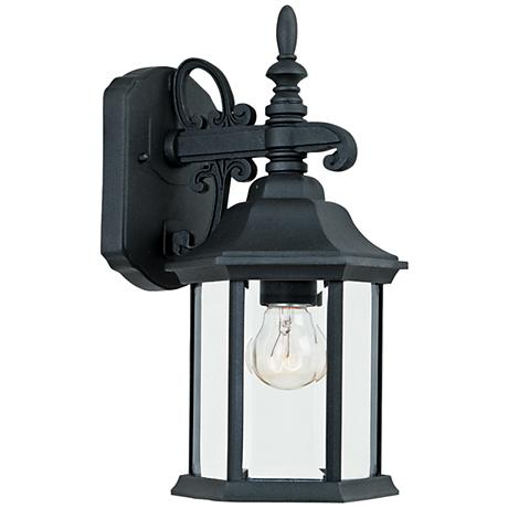 """Devonshire 14 1/4""""H Clear Glass Black Outdoor Wall Light"""