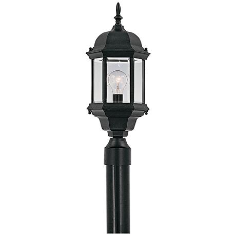 "Devonshire 20"" High Clear Glass Black Outdoor Post Light"