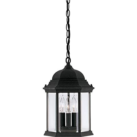 "Devonshire 15""H 3-Light Black Outdoor Hanging Light"
