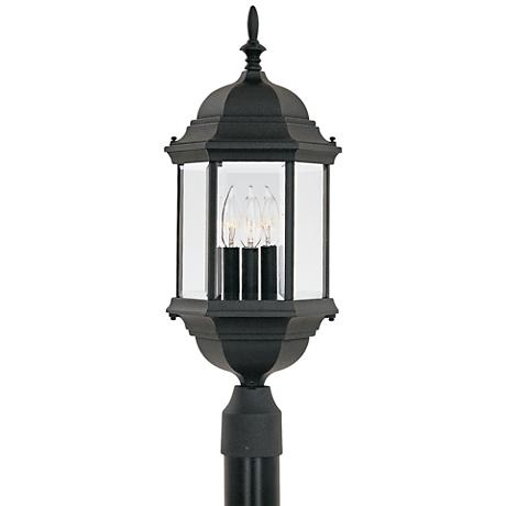 "Devonshire 23 1/2""H Clear Glass Black Outdoor Post Light"