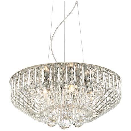 "Possini Euro Sabine Chrome 17"" Wide Crystal Pendant Light"