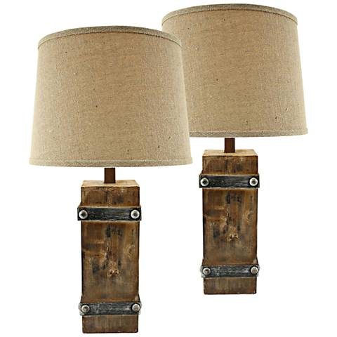 Brockton II Distressed Brown Wood Table Lamp Set of 2