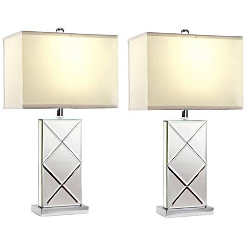 Rory Beveled Mirrored Table Lamp Set of 2